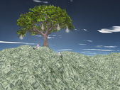 Tree with light bulbs grows out of US currency mountain — Stock Photo