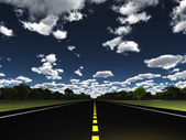 Road in green landscape with clouds — Stock Photo