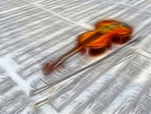 Violin on sheet music backdrop with clouds reflecting — Stock Photo