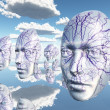 Diembodied faces or masks hover in surreal scene — Stockfoto