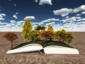 Autumn trees on book — Stock Photo
