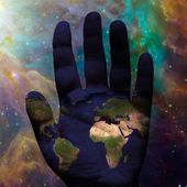 Earth hand galactic — Stock Photo