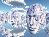 Diembodied ansikten eller masker hover i surrealistisk scen — Stockfoto