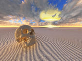 Human skull and nuclear explosion in desert — Stock Photo