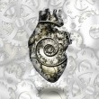 Human heart gears and time spirial — Stockfoto