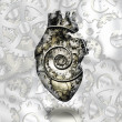 图库照片: Human heart gears and time spirial