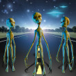 Aliens on country road — Stock Photo