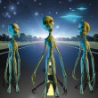 Stock Photo: Aliens on country road