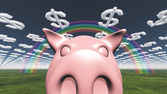 Pig and dollar symbol clouds — Stock Photo