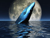 Whale on oceans surface with full moon — Foto Stock