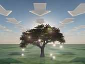 Idea tree with arrow clouds — Stock Photo