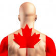 Stock Photo: Maple leaf Canadflag on muscular man