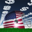 American FLag Football Helmet on Grass with DollarSymbol Clouds — Stock Photo