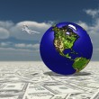 Earth Focus Americas on Dollasr Surface — Stock Photo