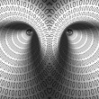 Eyes in binary tunnel — Stock Photo