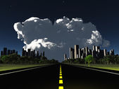Surreal City night roadway with looming cloud — Foto de Stock