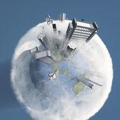 Bulutlar toprakla şehir — Stok fotoğraf