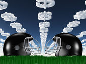 Football Helmet on Grass with DollarSymbol Clouds — Stock Photo