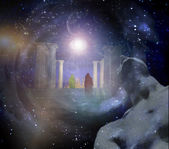Temple in spiritualy based composition — Stock Photo