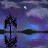 Lake,moon and tree ilustration — Stock Photo