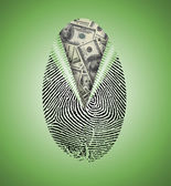 Finger Print reveals currency underneath — Stok fotoğraf