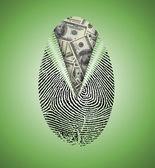 Parmak baskı altında para birimi ortaya koymaktadır — Stok fotoğraf