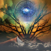 Surreal artisitc image with time spiral — Stock Photo