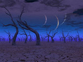 Three planets rise over dead lands — Stock Photo