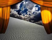 пустынных песков, видели через отверстие в шторы — Стоковое фото