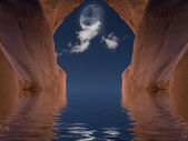Red Stone Cavern with Moon — Stock Photo