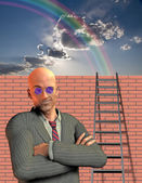 Man stands before wall with ladder — Stock Photo