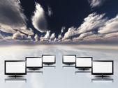 Gökyüzü ile beyaz boş düz paneller — Stok fotoğraf