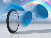 Dream scene with blue umbrellas and rainbow — Stock Photo