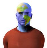 мужская фигура с америки карта на лице — Стоковое фото