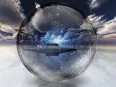 UFO w jasno kuli — Zdjęcie stockowe