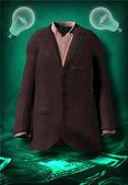 Prázdný oblek a incandesent cibulí vznášet se nad nás hotovost — Stock fotografie
