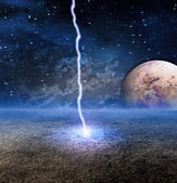 Energy Discharge on Alien Moon — Stock Photo