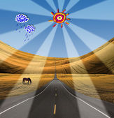 Road in to landscape with cartoon clouds and sun — Stock Photo