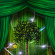 Tree and apple before curtains — Stock Photo
