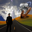 Man with ideas in landscape with sculpture — Stock Photo