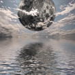 Moon over water — Stock Photo