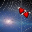 Hearts Caught in Web — Stock Photo