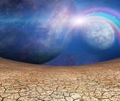 Planets and cracked earth — Stock Photo