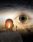 Surreal illustration of man looking on eye — Stock Photo