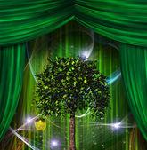 Árbol y apple antes de cortinas — Foto de Stock