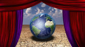 World Stage Earth in desert veiwed through open curtains Earth i — Stock Photo