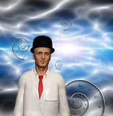 Man in white suit and time spirals — Stock Photo
