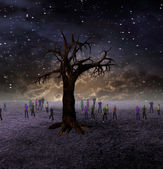 People Gather Around Large Tree on Barren World — Stockfoto