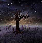 Persone si riuniscono attorno grande albero sul mondo sterile — Foto Stock