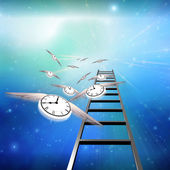 Flying Clocks and Ladder — Stock Photo